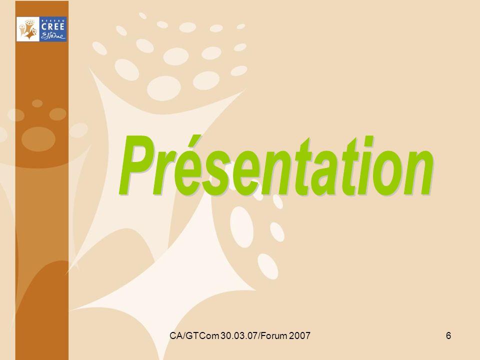 Avec le concours du FSE CA/GTCom 30.03.07/Forum 2007 17 Pour les porteurs de projet Le centre de diagnostic labellisé par la Région Ile de France: vérifie léligibilité du porteur selon les critères établis par la Région et prescrit en fonction des besoins en compétences de ce porteur un parcours parmi le catalogue des formations retenues par la Région Ile de France de : 40 à 200 heures de formation collective composée dun ou plusieurs modules Et/ou de 8 à 16 heures de formation individuelle composée dun ou plusieurs modules.