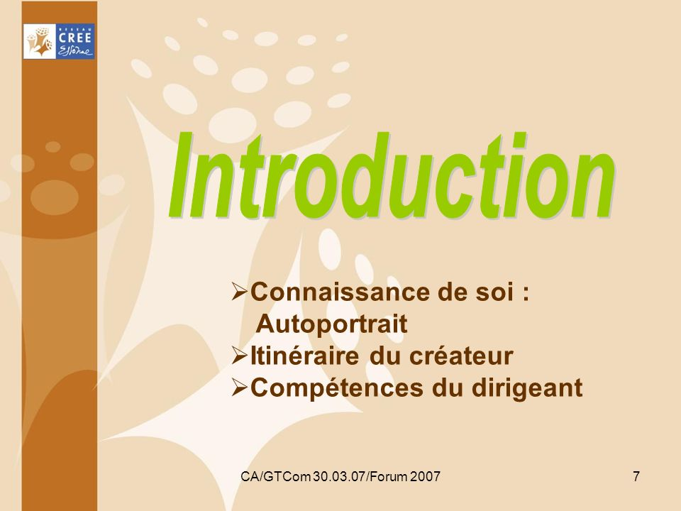 Avec le concours du FSE CA/GTCom 30.03.07/Forum 2007 18 Types de formation collectives Généralistes (200h, 120h, 80h) Gestion comptable et financière (80h, 40h) Stratégie commerciale (40h) Juridique (40h) Ressources humaines (40h) Service à la personne (40h) Eco-construction (40h) Reprise de PME-PMI (120h) Reprise dun commerce (80h)