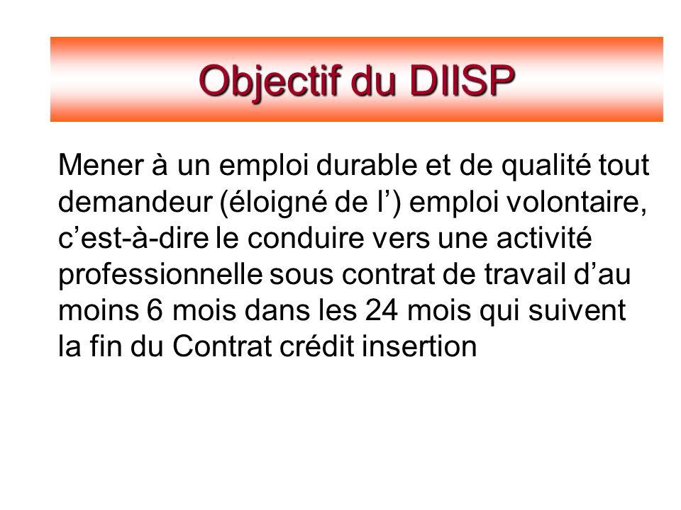 Constats Objectif du DIISP Mener à un emploi durable et de qualité tout demandeur (éloigné de l) emploi volontaire, cest-à-dire le conduire vers une activité professionnelle sous contrat de travail dau moins 6 mois dans les 24 mois qui suivent la fin du Contrat crédit insertion