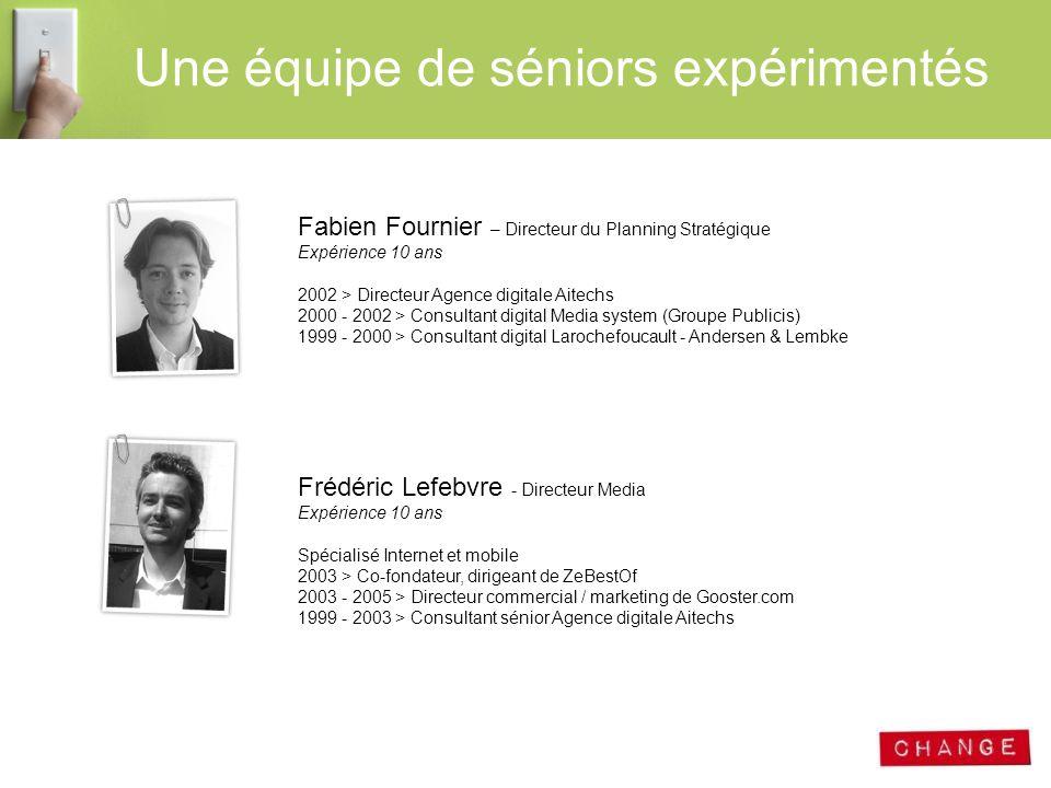 Une équipe de séniors expérimentés Fabien Fournier – Directeur du Planning Stratégique Expérience 10 ans 2002 > Directeur Agence digitale Aitechs 2000