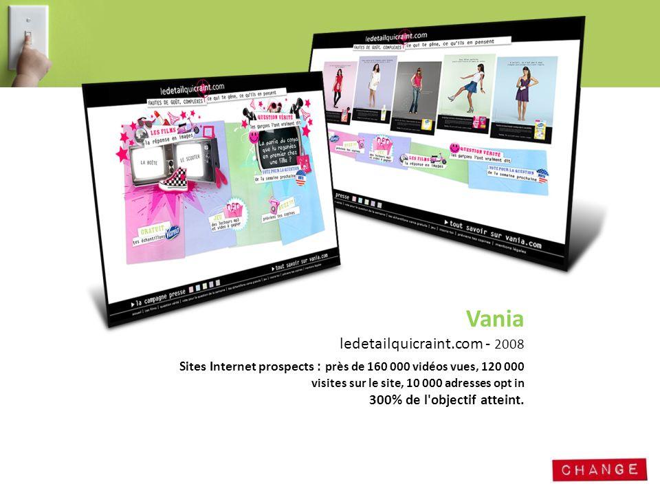 Vania ledetailquicraint.com - 2008 Sites Internet prospects : près de 160 000 vidéos vues, 120 000 visites sur le site, 10 000 adresses opt in 300% de