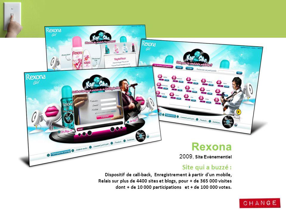 Rexona 2009, Site Evènementiel Site qui a buzzé : Dispositif de call-back, Enregistrement à partir d'un mobile, Relais sur plus de 4400 sites et blogs