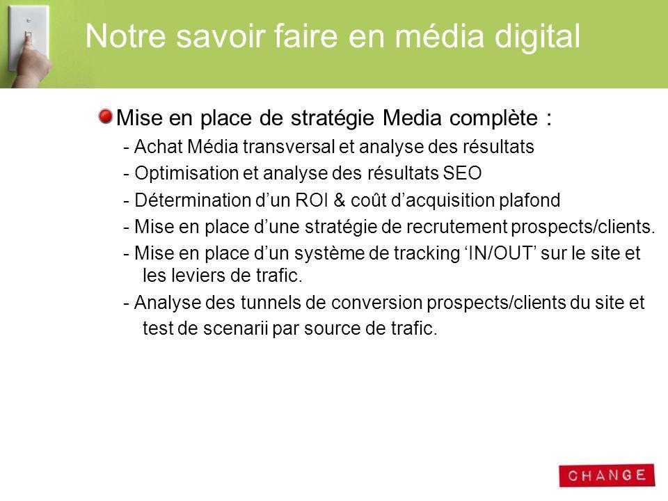 Mise en place de stratégie Media complète : - Achat Média transversal et analyse des résultats - Optimisation et analyse des résultats SEO - Détermina