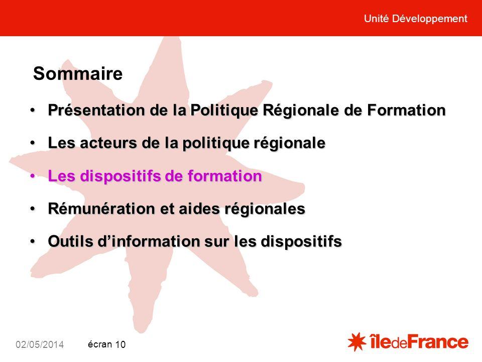 Unité Développement écran 02/05/2014 10 Unité Développement Sommaire Présentation de la Politique Régionale de FormationPrésentation de la Politique R