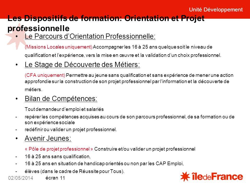 Unité Développement écran 02/05/2014 11 Les Dispositifs de formation: Orientation et Projet professionnelle Le Parcours dOrientation Professionnelle: