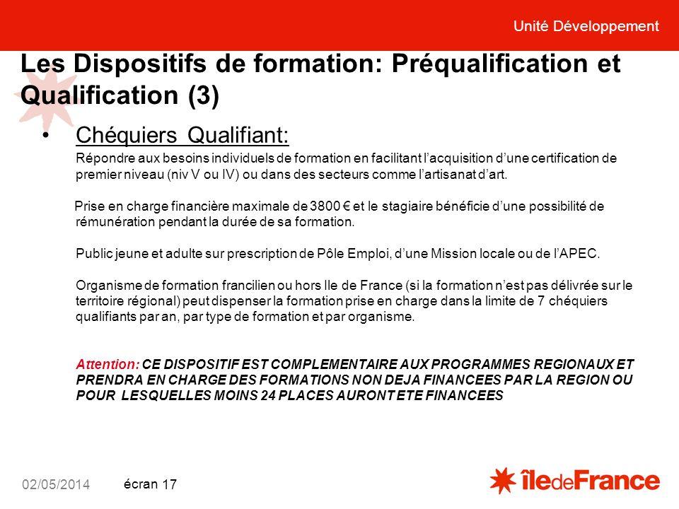 Unité Développement écran 02/05/2014 17 Les Dispositifs de formation: Préqualification et Qualification (3) Chéquiers Qualifiant: Répondre aux besoins