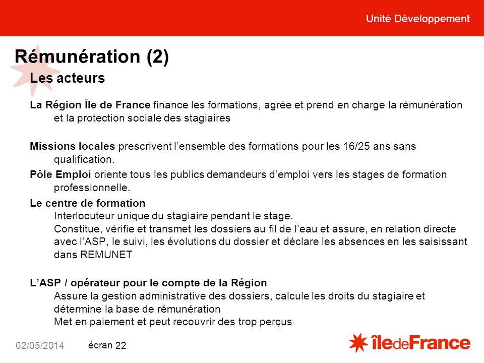 Unité Développement écran 02/05/2014 22 Rémunération (2) Les acteurs La Région Île de France finance les formations, agrée et prend en charge la rémun