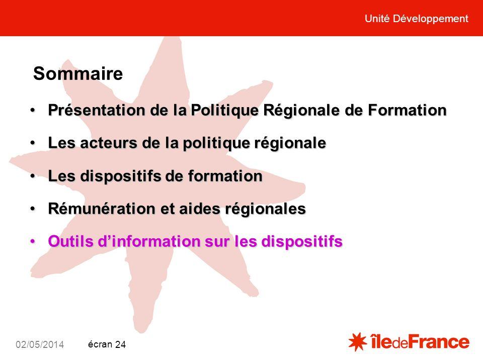 Unité Développement écran 02/05/2014 24 Unité Développement Sommaire Présentation de la Politique Régionale de FormationPrésentation de la Politique R