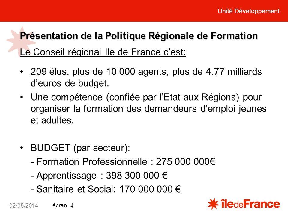 Unité Développement écran 02/05/2014 4 Présentation de la Politique Régionale de Formation Le Conseil régional Ile de France cest: 209 élus, plus de 1