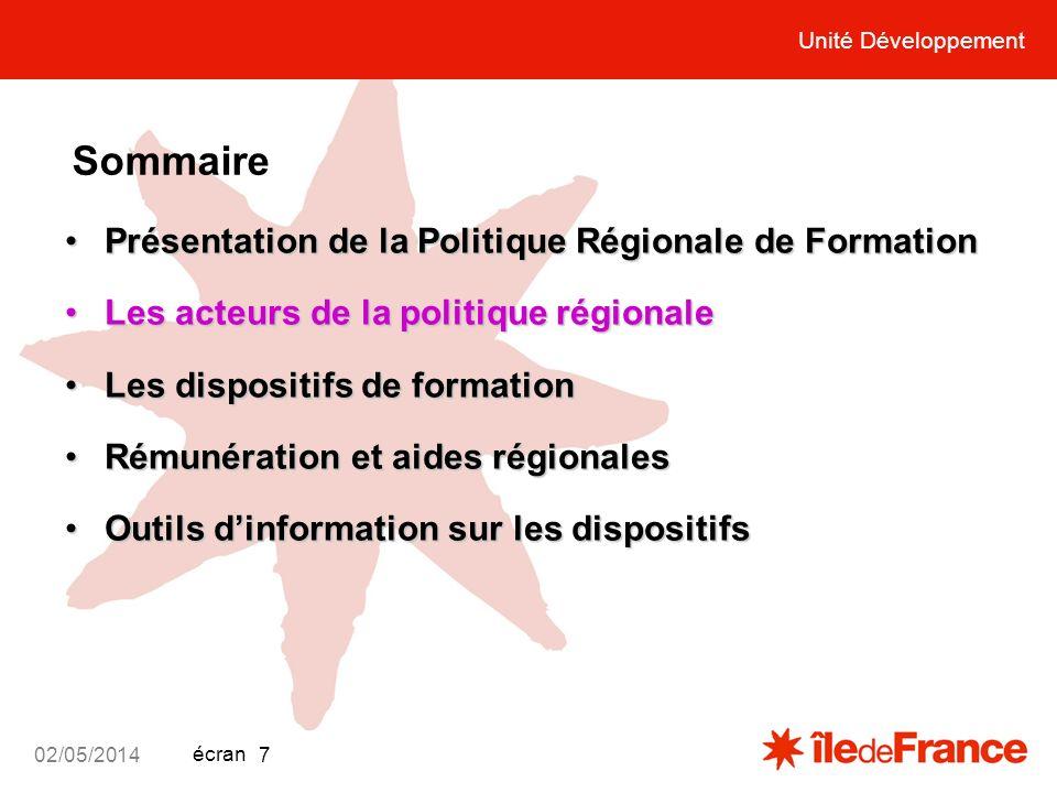Unité Développement écran 02/05/2014 7 Unité Développement Sommaire Présentation de la Politique Régionale de FormationPrésentation de la Politique Ré
