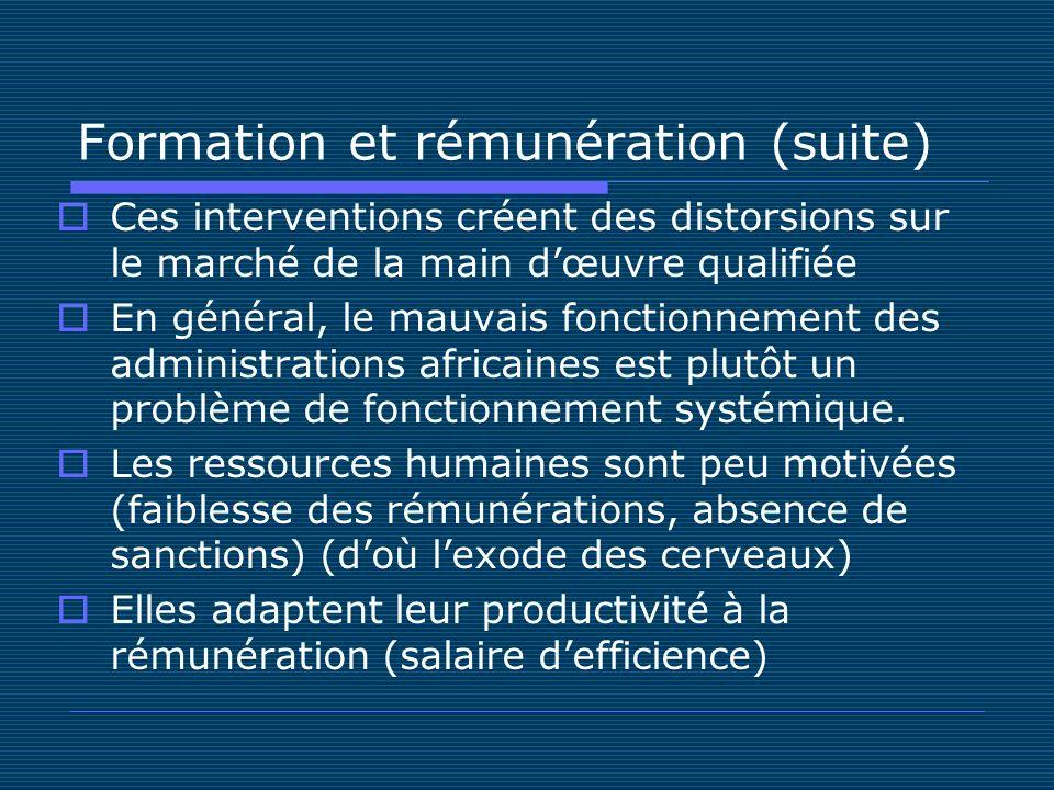 Formation et rémunération (suite) Ces interventions créent des distorsions sur le marché de la main dœuvre qualifiée En général, le mauvais fonctionnement des administrations africaines est plutôt un problème de fonctionnement systémique.