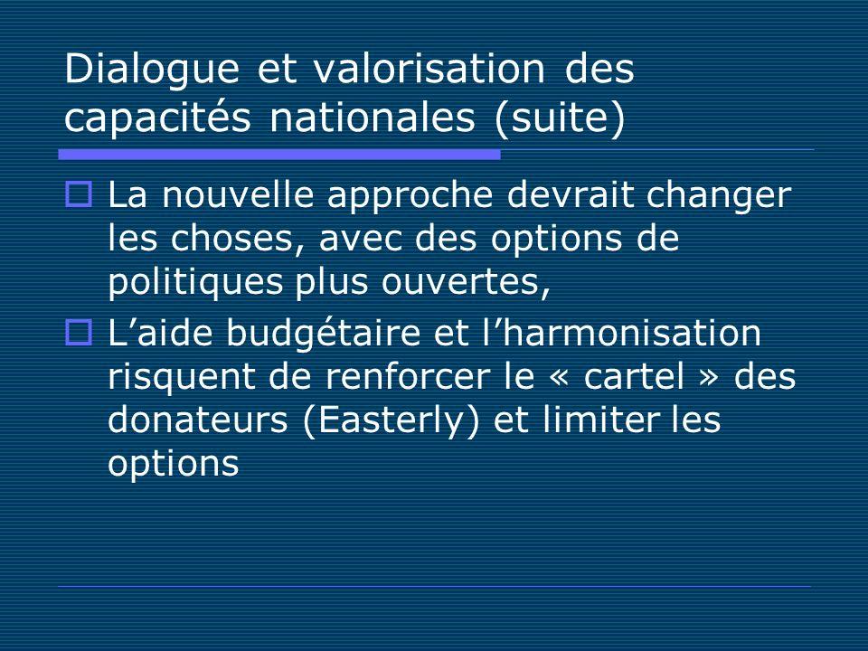 Dialogue et valorisation des capacités nationales (suite) La nouvelle approche devrait changer les choses, avec des options de politiques plus ouvertes, Laide budgétaire et lharmonisation risquent de renforcer le « cartel » des donateurs (Easterly) et limiter les options