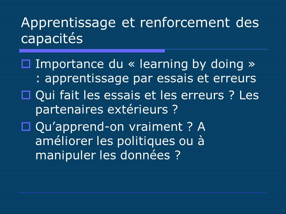 Apprentissage et renforcement des capacités Importance du « learning by doing » : apprentissage par essais et erreurs Qui fait les essais et les erreurs .