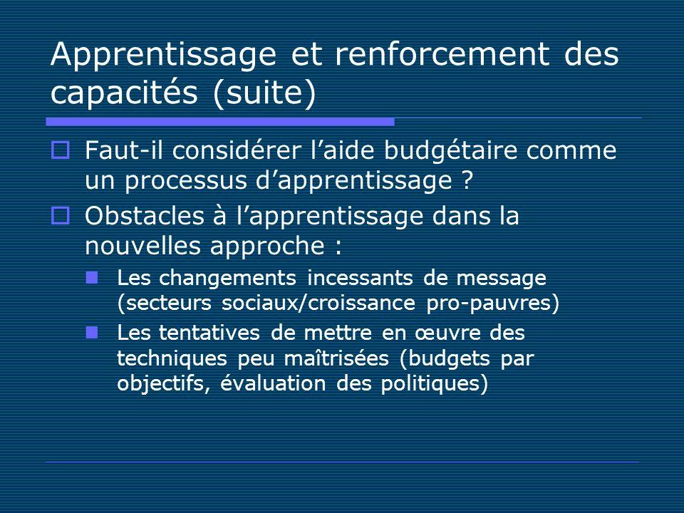 Apprentissage et renforcement des capacités (suite) Faut-il considérer laide budgétaire comme un processus dapprentissage .