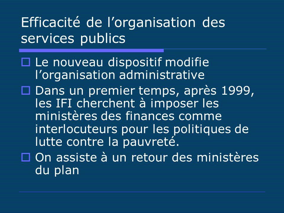 Efficacité de lorganisation des services publics Le nouveau dispositif modifie lorganisation administrative Dans un premier temps, après 1999, les IFI cherchent à imposer les ministères des finances comme interlocuteurs pour les politiques de lutte contre la pauvreté.