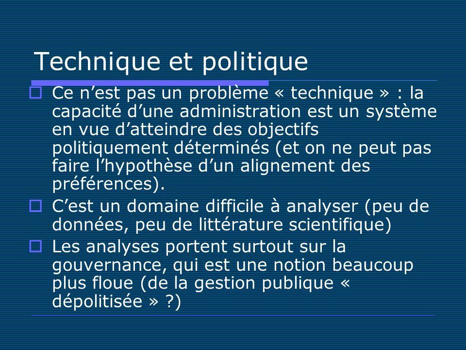 Technique et politique Ce nest pas un problème « technique » : la capacité dune administration est un système en vue datteindre des objectifs politiquement déterminés (et on ne peut pas faire lhypothèse dun alignement des préférences).