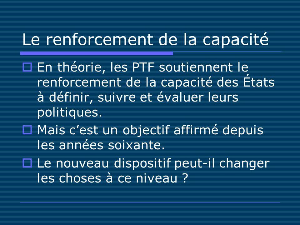 Le renforcement de la capacité En théorie, les PTF soutiennent le renforcement de la capacité des États à définir, suivre et évaluer leurs politiques.