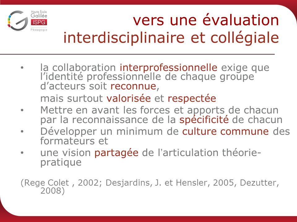 vers une évaluation interdisciplinaire et collégiale la collaboration interprofessionnelle exige que l identité professionnelle de chaque groupe d act