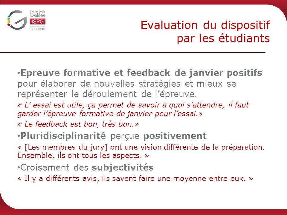 Evaluation du dispositif par les étudiants Epreuve formative et feedback de janvier positifs pour élaborer de nouvelles stratégies et mieux se représenter le déroulement de lépreuve.