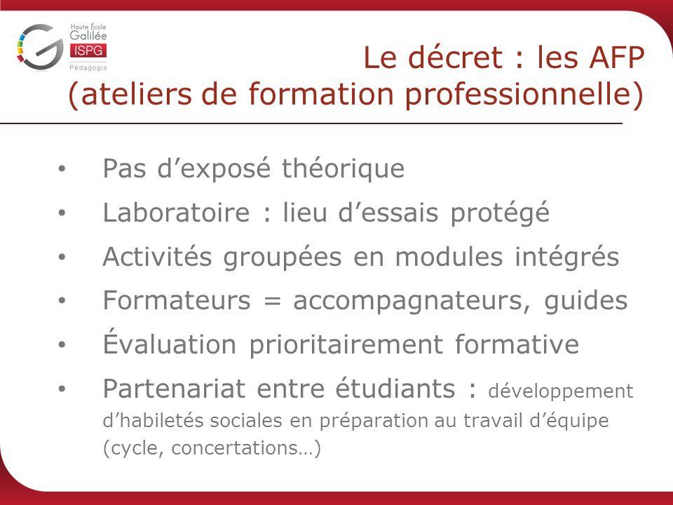 Le décret : les AFP (ateliers de formation professionnelle) Pas dexposé théorique Laboratoire : lieu dessais protégé Activités groupées en modules int