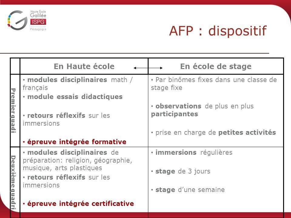 AFP : dispositif En Haute écoleEn école de stage Premier quadi modules disciplinaires math / français module essais didactiques retours réflexifs sur