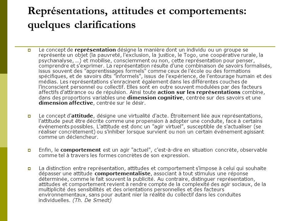 Représentations, attitudes et comportements: quelques clarifications Le concept de représentation désigne la manière dont un individu ou un groupe se