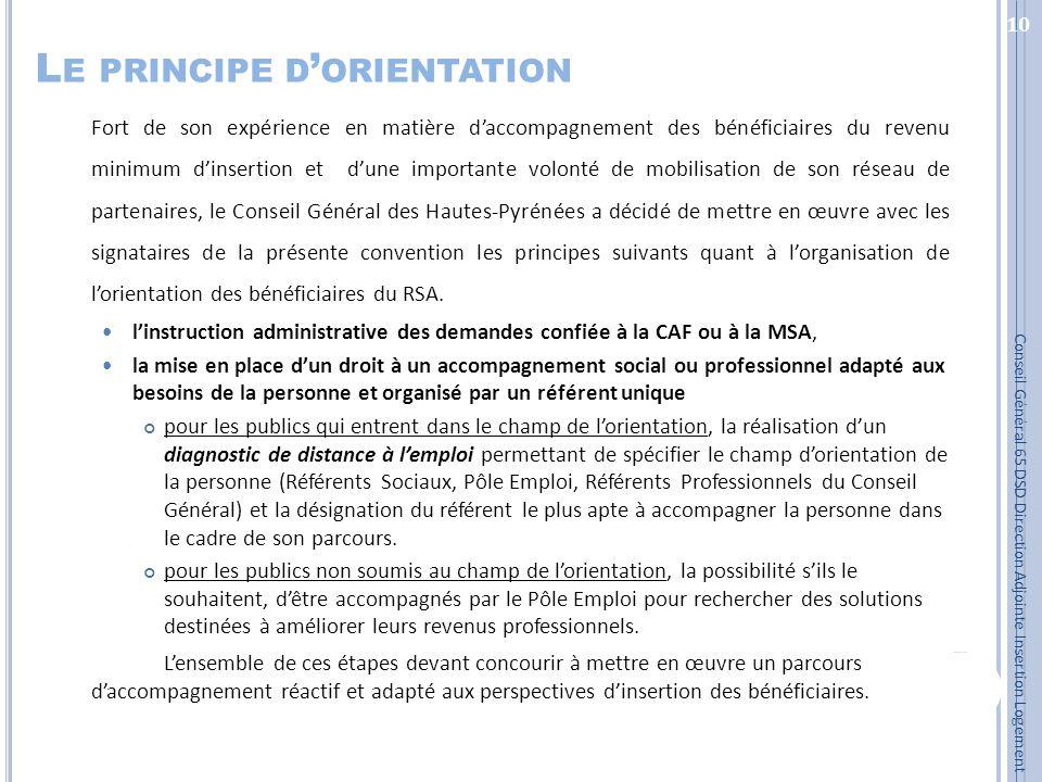 L E PRINCIPE D ORIENTATION Fort de son expérience en matière daccompagnement des bénéficiaires du revenu minimum dinsertion et dune importante volonté