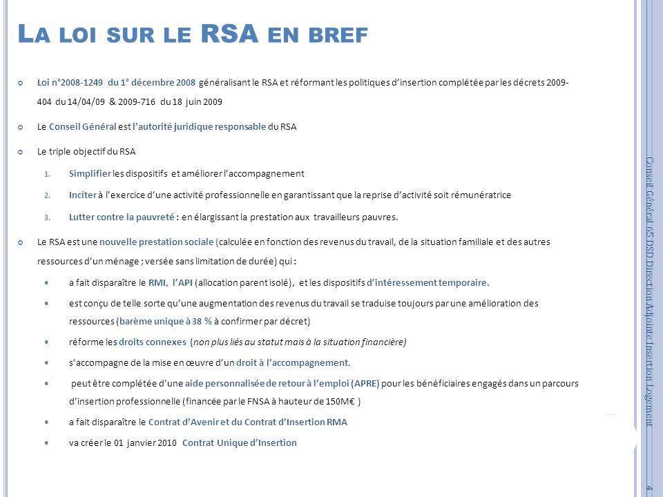L A LOI SUR LE RSA EN BREF Loi n°2008-1249 du 1° décembre 2008 généralisant le RSA et réformant les politiques dinsertion complétée par les décrets 20