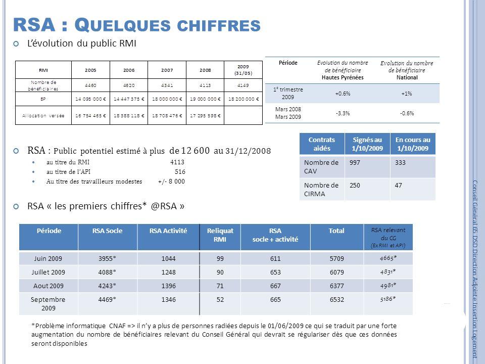 RSA : Q UELQUES CHIFFRES Lévolution du public RMI RSA : Public potentiel estimé à plus de 12 600 au 31/12/2008 au titre du RMI 4113 au titre de lAPI 5