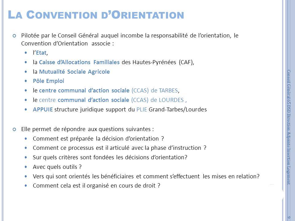 L A C ONVENTION D O RIENTATION Pilotée par le Conseil Général auquel incombe la responsabilité de lorientation, le Convention dOrientation associe : l