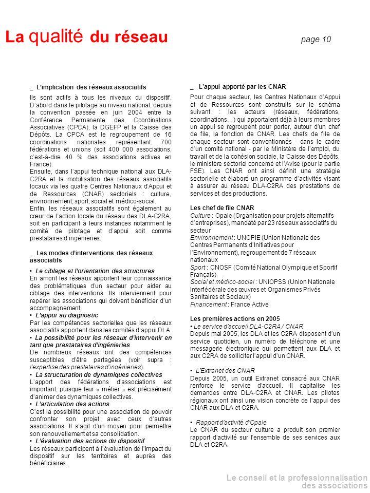Le conseil et la professionnalisation des associations _ Lappui apporté par les CNAR Pour chaque secteur, les Centres Nationaux dAppui et de Ressources sont construits sur le schéma suivant : les acteurs (réseaux, fédérations, coordinations…) qui apportaient déjà à leurs membres un appui se regroupent pour porter, autour dun chef de file, la fonction de CNAR.
