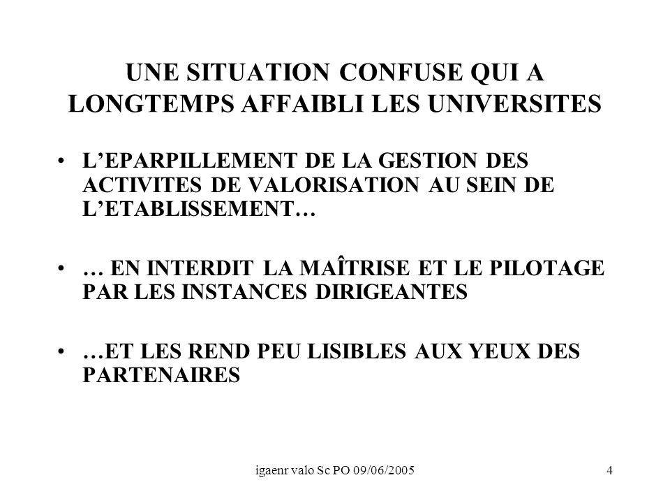 igaenr valo Sc PO 09/06/200515 CONCLUSION DES PROGRES CONSIDERABLES ONT ETE ACCOMPLIS OU SONT EN COURS : –PRISE DE CONSCIENCE –EFFORTS D ORGANISATION –PROFESSIONNALISATION MAIS IL RESTE A TROUVER LE DISPOSITIF DE GESTION REELLEMENT PERFORMANT, ALLIANT : –SOUPLESSE ET REACTIVITE –LISIBILITE ET OUVERTURE AUX PARTENAIRES –SECURITE (Jean-loup.dupont@education.gouv.fr)