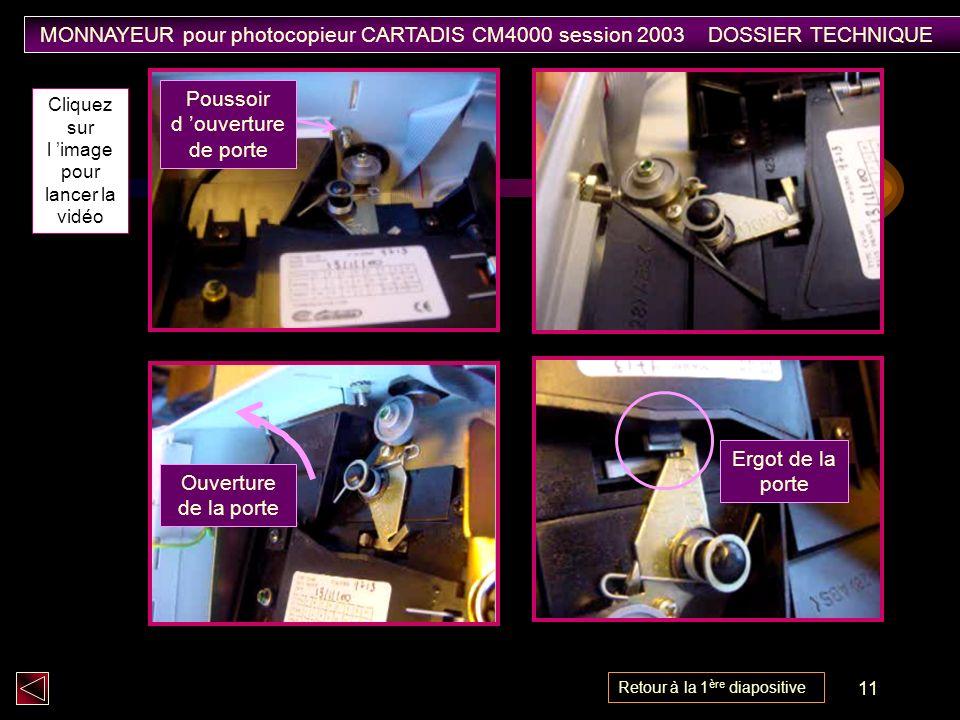 11 Ergot de la porte Poussoir d ouverture de porte Ouverture de la porte Cliquez sur l image pour lancer la vidéo MONNAYEUR pour photocopieur CARTADIS CM4000 session 2003 DOSSIER TECHNIQUE Retour à la 1 ère diapositive