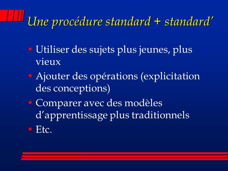 Une procédure standard + standard Utiliser des sujets plus jeunes, plus vieux Ajouter des opérations (explicitation des conceptions) Comparer avec des modèles dapprentissage plus traditionnels Etc.