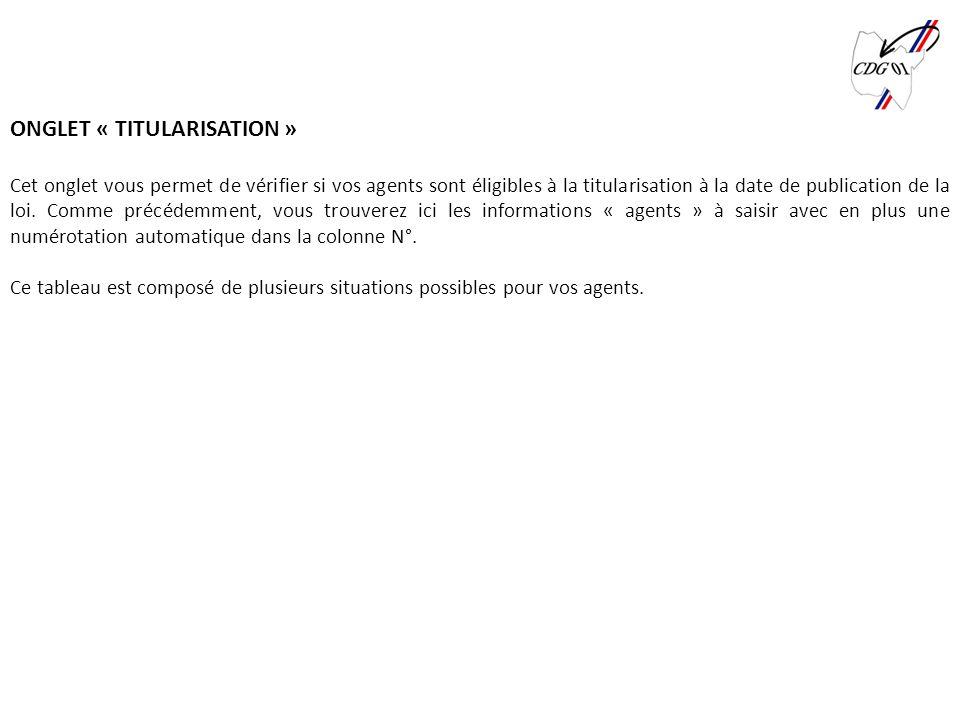 Centre Interdépartemental de Gestion de la Grande Couronne de la Région dÎle-de-France ONGLET « TITULARISATION » Cet onglet vous permet de vérifier si