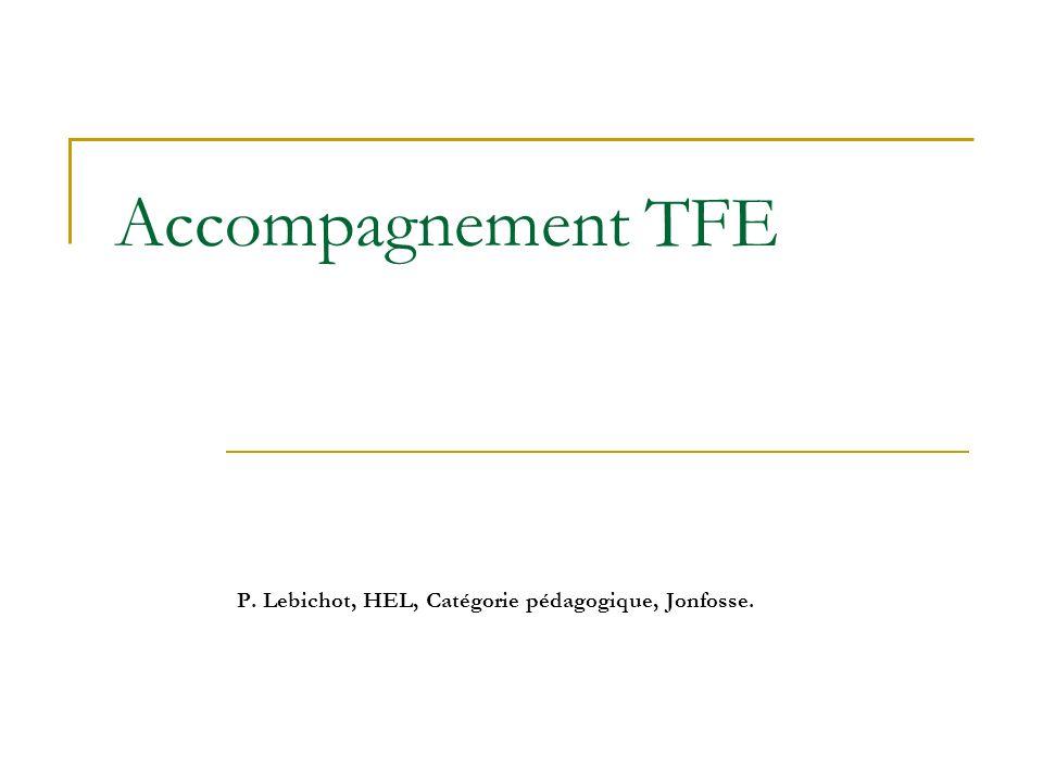 Accompagnement TFE P. Lebichot, HEL, Catégorie pédagogique, Jonfosse.