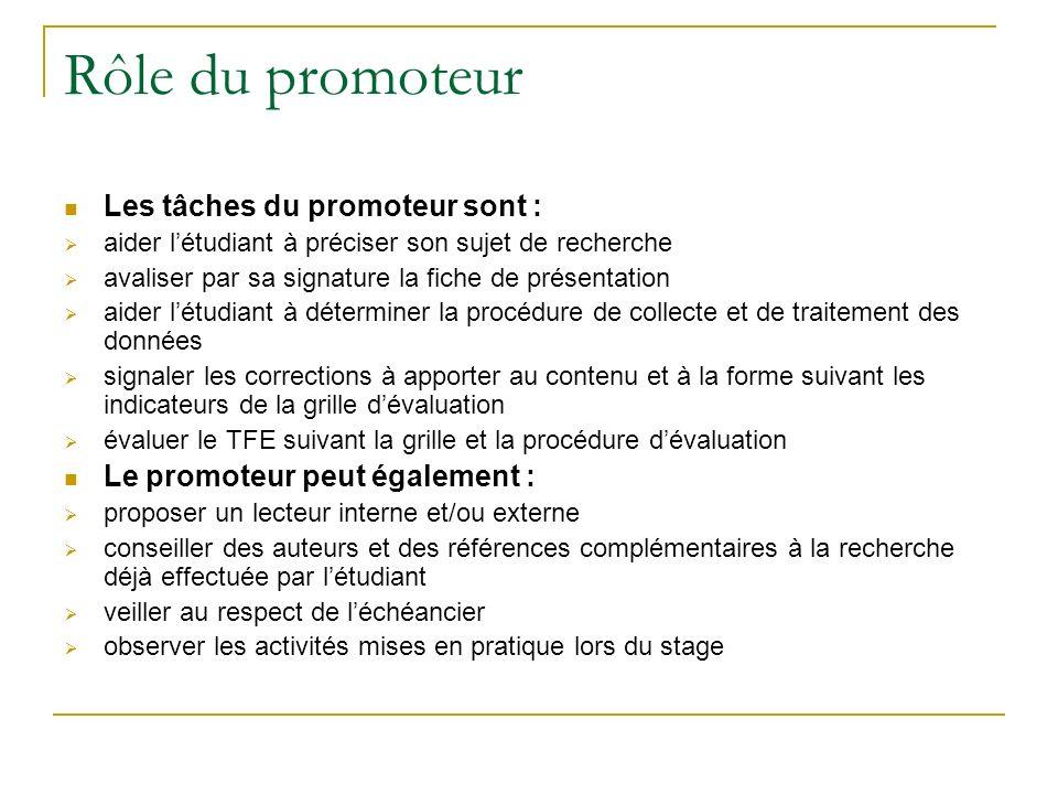 Rôle du promoteur Les tâches du promoteur sont : aider létudiant à préciser son sujet de recherche avaliser par sa signature la fiche de présentation