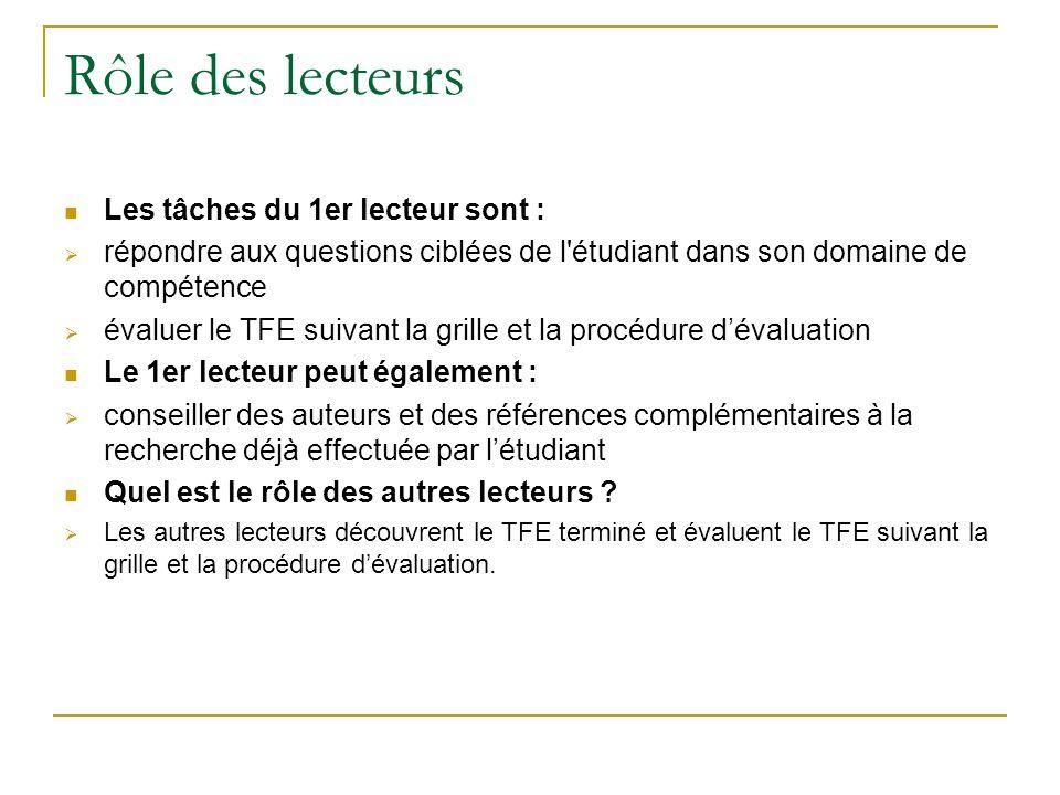 Rôle des lecteurs Les tâches du 1er lecteur sont : répondre aux questions ciblées de l'étudiant dans son domaine de compétence évaluer le TFE suivant