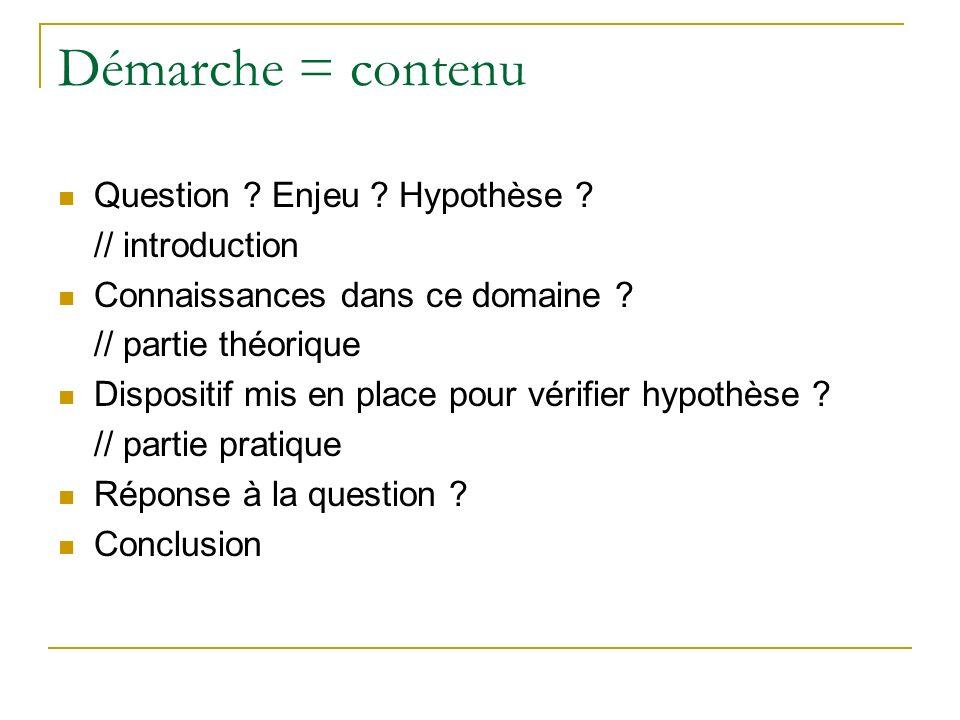 Démarche = contenu Question ? Enjeu ? Hypothèse ? // introduction Connaissances dans ce domaine ? // partie théorique Dispositif mis en place pour vér