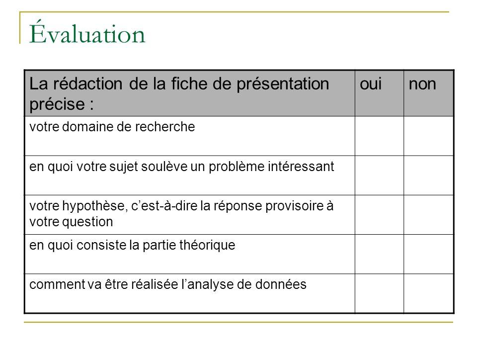 Évaluation La rédaction de la fiche de présentation précise : ouinon votre domaine de recherche en quoi votre sujet soulève un problème intéressant vo