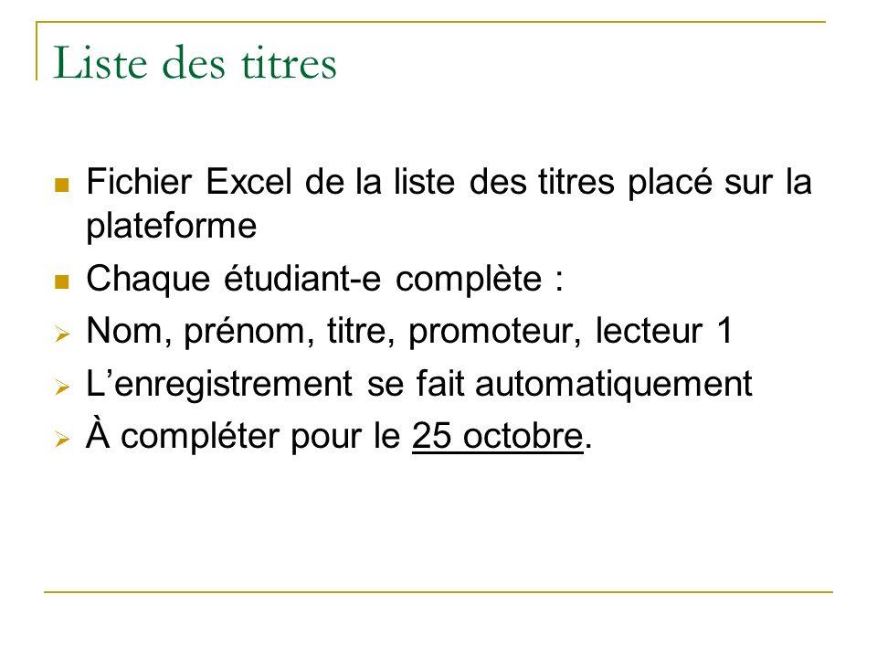 Liste des titres Fichier Excel de la liste des titres placé sur la plateforme Chaque étudiant-e complète : Nom, prénom, titre, promoteur, lecteur 1 Le