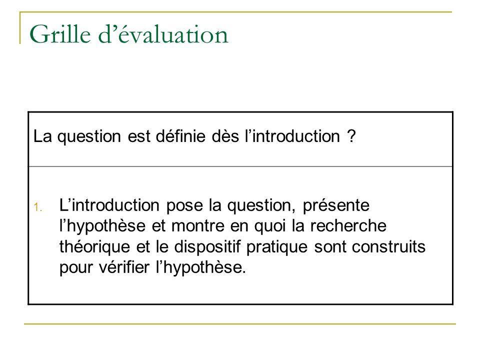 Grille dévaluation La question est définie dès lintroduction ? 1. Lintroduction pose la question, présente lhypothèse et montre en quoi la recherche t