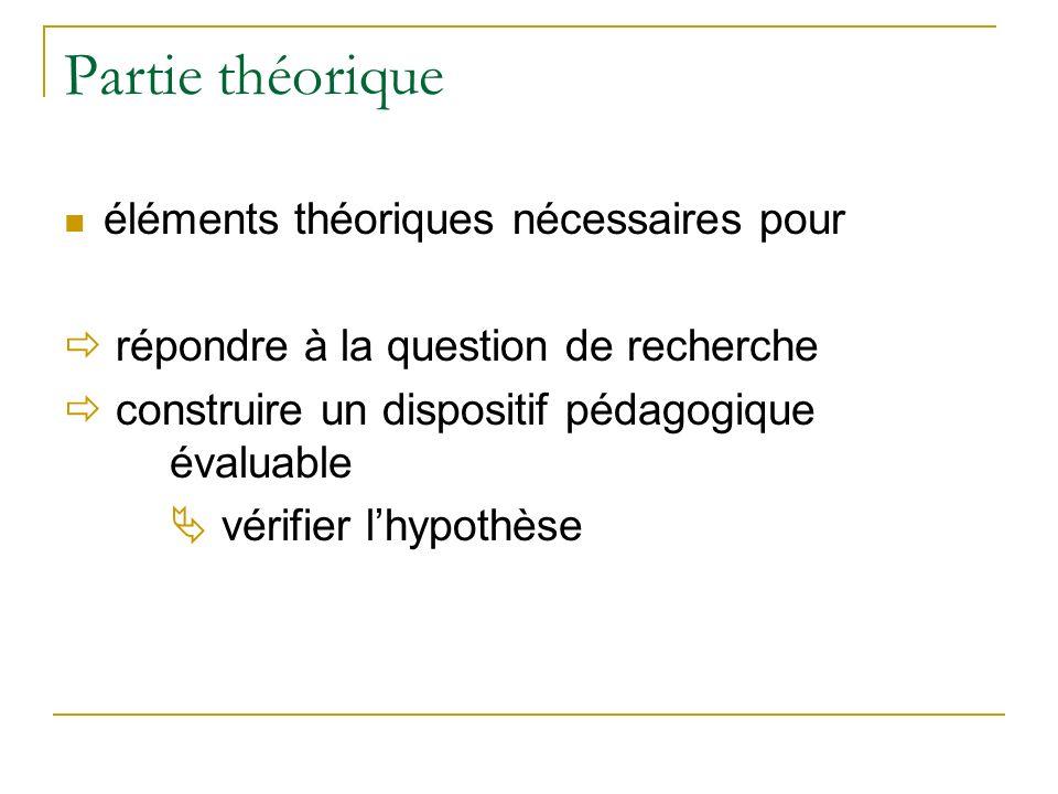 Partie théorique éléments théoriques nécessaires pour répondre à la question de recherche construire un dispositif pédagogique évaluable vérifier lhyp