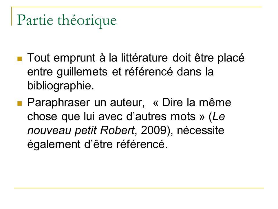 Partie théorique Tout emprunt à la littérature doit être placé entre guillemets et référencé dans la bibliographie. Paraphraser un auteur, « Dire la m