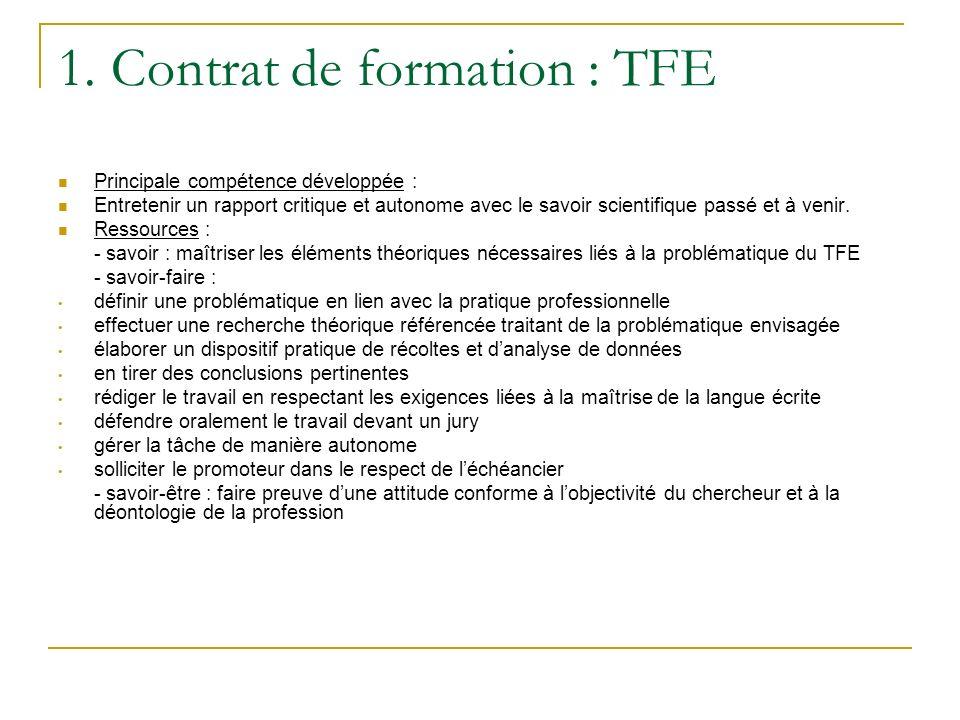 1. Contrat de formation : TFE Principale compétence développée : Entretenir un rapport critique et autonome avec le savoir scientifique passé et à ven