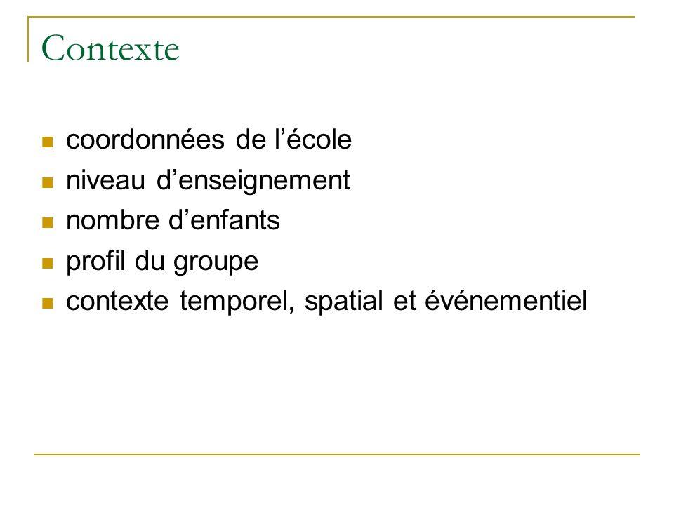 Contexte coordonnées de lécole niveau denseignement nombre denfants profil du groupe contexte temporel, spatial et événementiel