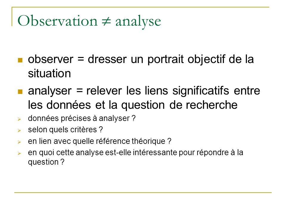 Observation analyse observer = dresser un portrait objectif de la situation analyser = relever les liens significatifs entre les données et la questio