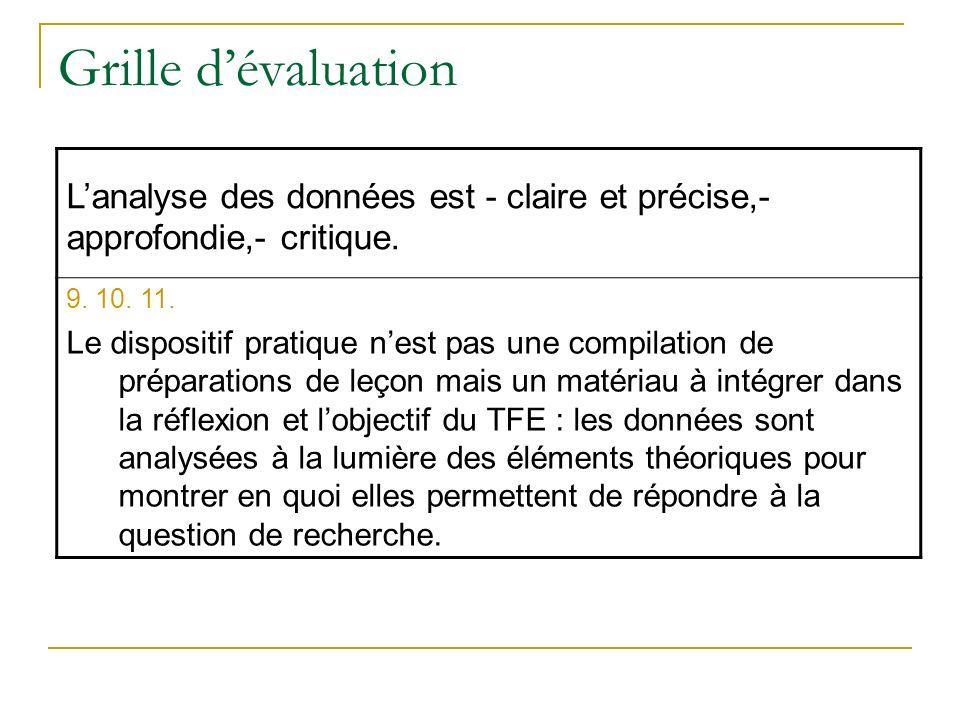 Grille dévaluation Lanalyse des données est - claire et précise,- approfondie,- critique. 9. 10. 11. Le dispositif pratique nest pas une compilation d