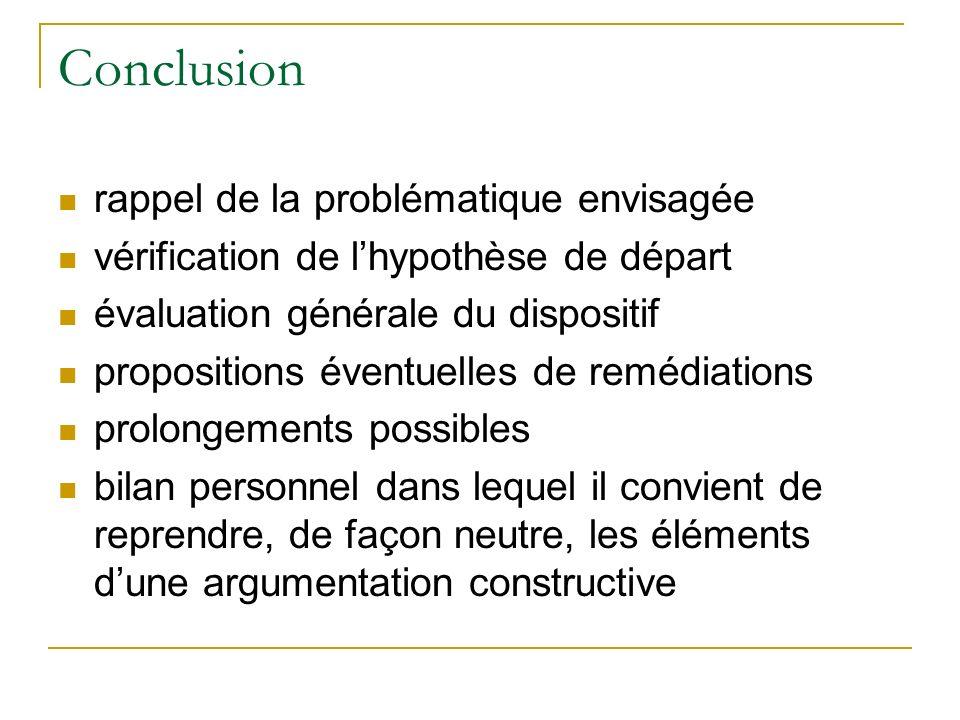 Conclusion rappel de la problématique envisagée vérification de lhypothèse de départ évaluation générale du dispositif propositions éventuelles de rem