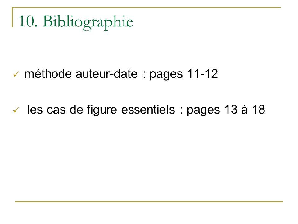 10. Bibliographie méthode auteur-date : pages 11-12 les cas de figure essentiels : pages 13 à 18